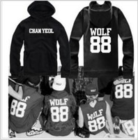 Wholesale Luhan Sehun Wolf - Free shipping Chinese size M--4XL New arrive EXO pullover Wolf 88 hoodies XOXO Cotton KPOP LUHAN KRIS SEHUN printed hoodies black Color