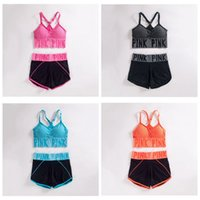 Pink Letter Yoga Suit Mulheres PINK Tracksuit Running Underwear Set Runner Outfits Summer Sport Wear Fitness Bra Shorts Gym Top Vest OOA3032