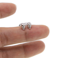 Wholesale Silver Skull Earrings Women - 925 Sterling Silver Skull Earrings Studs earring Small Punk Gothic retro Jewelry For Men And Women cool earing Brincos 2017 new