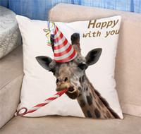 Wholesale Super Soft Giraffe - Giraffe hedgehog bee dog cat rabbits pillowcase High quality short plush super soft skin-friendly cute animals pillowcase BY DHL 240555