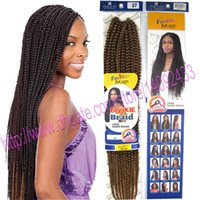 Wholesale Kanekalon Hair Blonde Straight - crochet rope box braid hair extensions kanekalon fiber synthetic dookie braids 6colors can be choose 10pcs lot free shipping