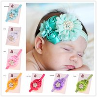 Wholesale Baby Shower Gifts Cheap - 12 pcs Satin flower Rosette flower headband High Quality Hair Bow Accessories Cheap Headband Hair Bows Baby Shower Gift