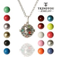 Wholesale Harmony Bell Chime - TRENDYOU Wholesale Enamel Ringing Necklaces Pendant Harmony Ball Chime Jewelry Baby Bell Cage For Pregnant Women DTZ16614-9