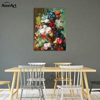 fotos de flores americanas al por mayor-Pintura de frutas y flores impresas sobre lienzo Cuadro realista de estilo europeo y americano para tatuajes de pared