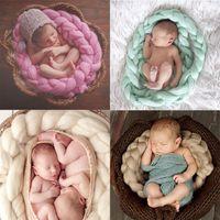 Wholesale Crochet Baby Basket - DHL Fedex Free Newborn Baby Photography Props Baby handmade crochet Photo Blanket 12 Colors 4M Long Basket Acrylic Filler Braid Basket L198