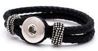 beliebtesten armbänder großhandel-Bestseller Austauschbare 21CM Echtleder Snaps Armbänder Snaps Schmuck beliebtesten Fit Ingwer Snaps KB0801