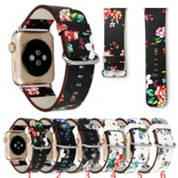 Wholesale Wholesale Leather Straps For Bracelets - For Apple Watch Strap Bands Genuine Real Leather Flower Straps Band 38 42mm Bracelets With Adapter