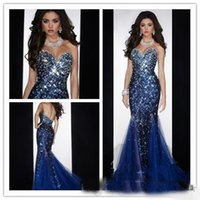 Wholesale Diamond Mermaid Evening Dress - 2018 Shiny Bling Mermaid Sweetheart Open Back Crystals Beaded Sequined Diamond Prom Dresses Royal Blue Evening Pageant Gowns