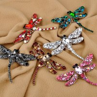 Wholesale vintage dragonfly brooch rhinestones - 8 Colors Vintage Lovely Dragonfly Crystal Rhinestone Scarf Pins Brooches For Women New Fashion Jewelry Broochs DHL free shipping