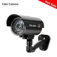 Wholesale dummy cctv outdoor - Fake Dummy Camera Bullet Waterproof Outdoor Indoor Security CCTV Surveillance Camera Flashing Red LED Free Shipping