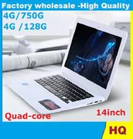 Wholesale Thinnest Netbook - 14inch Laptop Quad Core Win 7 8 4G HDD 750G ROM Laptop Intel Atom J1900 X64 Ultra thin Airbook Netbook Laptops 5pcs