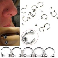 Wholesale Industrial Pierce - 20 PC 18 Gauge Horseshoe Rings Industrial Piercing Curved Barbell Jewelry Surgical Steel,Women's Men's Silver Nose Rings Piercing 7034