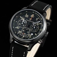 Wholesale Chronograph Pilot Watch - All Subdials Work Top Luxury Brand Swiss Casual chronograph Men's Watches Quartz Clock Leather pilot Watch Fashion Men sports Wristwatches