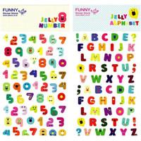 Wholesale Photo Epoxy - 2 pcs Lot Funny sticker world 3D epoxy Jelly number alphabet stickers for phone notebook diary photo album Stationery 6925