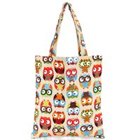 Wholesale Owl Women Bag - Wholesale-Owl Printed Summer Women Handbags Canvas Large Capacity Lady Shopping Bag Cartoon Cute Beach Tote Shoulder Hamburger Bags