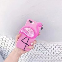 Wholesale Iphone Cases Icecream - 3D Cute Flamingo Case for iPhone 6s 6 7Plus Glitter Liquid Quicksand Icecream Silicone Soft Cover For iPhone 7 6s 8 Plus