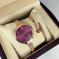 relógio pulseira roxa venda por atacado-2017 nova moda estilo mulheres assista pulseira de aço cadeia de relógio da senhora pulseira de aço cadeia de luxo relógio de quartzo para o partido roxo de alta qualidade