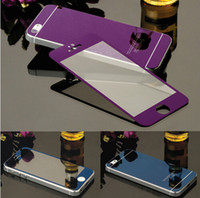 Wholesale New Back Iphone Glass - Wholesale New Brand Luxury Front+Back Mirror Tempered Glass Protector for Iphone 6&6plus Screen Protector Color Plate Film cover