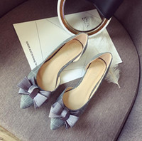 Wholesale Western Style Ladies Dresses - Women's Suede Low Heels New High Quality Women Dress Shoes Classic Western Style Lady Pumps Pointed Toes Bowtie Office Ladies Shoes