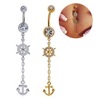 mücevherat takma çapalar toptan satış-Göbek Yüzükler Çapalar Dangle Belly Button Yüzükler Body Piercing Altın Gümüş Seksi Göbek Yüzükler Paslanmaz Çelik Düğün Göbek Barlar Vücut Takı