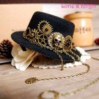 Wholesale Steampunk Costume Accessories - Wholesale-Steampunk Gear & Skull Chain Mini Top Hat Lolita Cosplay Fedoras Hat BLACK