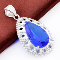 Best Wholesle 3 pezzi Amazing Antique Drop Blue Topazio Crystal Gems 925 Sterling Silver USA Israele Wedding Engagement Pendants Matrimoni