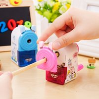 Wholesale Blue Sharpener - Deli 0641 High quality Fashion Cute Cartoon Pencil Sharpener Student kids Painting Hand-Cranked Pencil Sharpener gifts prize