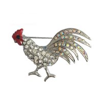 Wholesale Rooster Pins - Rooster Animal Brooch Pins with Retro Crystal Rhinestone for Christmas Party 2016 ee