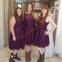Wholesale Holiday Bridesmaid Dresses - Burgundy Bridesmaid Dresses 2017 Cheap under 100 Fully Lace Holiday Formal Gowns with Knee Length and Sleeveless Party Dress