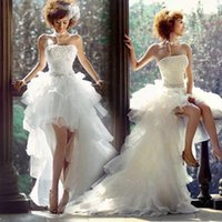 Wholesale Dipped Dresses - Strapless A-Line Organza High-low Hemline Wedding Dresses Dipped Neckline Tiered Ruffles Backless Vestidos Beads Wedding Gowns