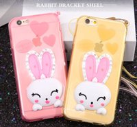 Bling Bling Crystal Rhinestones Rabbit Ears Bracket Cell Phone Case Cartoon TPU Shockproof caso do telefone celular para Iphone6 ​​6plus