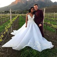 Wholesale Drop Waist Wedding Gowns - Sweetheart 2017 A Line Wedding Dresses Lace Appliques Empire Waist Sweep Train Bridal Gown Custom Made Hot Sale Vestios De Novia