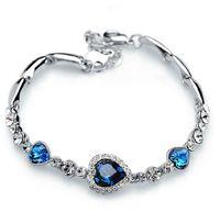 kristall herz armband großhandel-Armbänder für Damenmode Ocean Blue Splitter Überzogene Kristall Strass Herz Charme Armband Armreif Geschenk Swarovski Schmuck Charm Armbänder