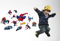 adesivo de parede removível spiderman venda por atacado-New spiderman adesivos de parede para quartos de crianças super hero adesivos de parede home decor adesivo de parede removível decalque da parede do pvc