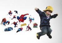 sticker mural amovible spiderman achat en gros de-Nouveau Spiderman Stickers Muraux pour Enfants Chambres Super Héros Stickers Muraux Décor À La Maison adesivo de parede amovible stickers muraux en pvc