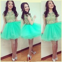 Wholesale Sexy Girls Mini Skirts - Mint Green Short Cocktail Dresses 2017 Sheer Jewel Neck with Beads A Line Mini Tiers Tulle Skirt 15 Girl Prom Dresses Formal Party Gowns