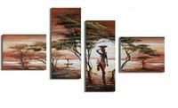 Wholesale Nude Oil Woman Painting - Hand Painted 4 Piece Modern Decorative Abstract Oil Paintings On The Wall African Landscape Nude Women Canvas Art Painting Decor