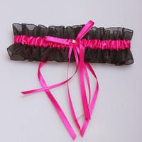 Wholesale Organza Satin Garter - 2016 New Black Red Bridal Garter Ribbon Organza Satin Bowknot Wedding Accessoreis Bridal Leg Garters Belt