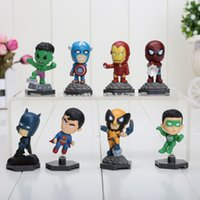 8pcs / set 5-8cm Les Avengers Superheroes Capitaine American Hulk Spiderman Mini PVC Figure d'action Poupées
