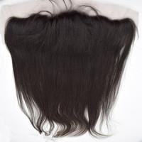 encaje yaki completo de malasia al por mayor-Malasio Yaki luz natural del cordón del pelo humano frontal 13x4 '' Medio libre 3 parte Yaki Frontal completo del cordón frontal nudos blanqueados con el pelo del bebé