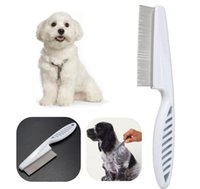 Wholesale Flea Dog Cat - Wholesale-Hot Pet Dog Hair Flea Comb Stainless Pin Dog Cat Grooming Brush Comb Clean Tool