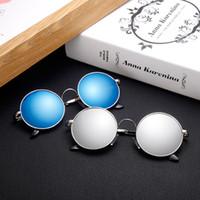 gafas de sol polarizadas circulares al por mayor-Gafas de sol polarizadas retro gafas de sol redondas hombres y mujeres modelos princesa espejo moda gafas de sol polarizadas circulares Buena visual wear