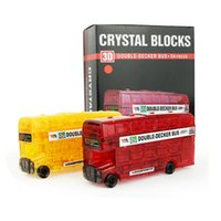 Wholesale 3d Crystal Puzzles For Kids - Kids Construction Vehicles Toy Assembled Puzzle Bus 3D Building Blocks Educational Toys Gift Crystal Style Perfect For Children Gifts