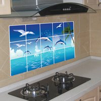 Wholesale tree life wall decal - AY3026 Anti-oil Stickers for Kitchen Sea Dolphin Seagulls Tree Anti-oil Decals For Kitchen Wall Rooms Practical Stickers Home Decor