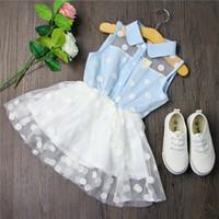 Wholesale Knee Length Sleeveless Denim Dress - 2016 Sweet Kids Girls Dots Denim Lace Dress Summer Cute Ruffles Party Dress Baby Girls Sundress Wholesale