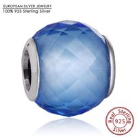 Wholesale Round Faceted Glass Stones - Blue CZ Petite Facets Charm Beads Fits Pandora Bracelets 925 Sterling Silver Big Stone Faceted Bead Diy 2016 Summer Jewelry