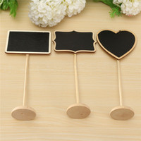 Wholesale Chalkboard Tags Wholesale - Wholesale-Mini Wooden Chalkboard Backboard with Stand Wedding Favor Party Table Decor Message Notice Number Price Tag Board 3 Shapes