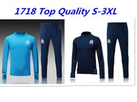 Wholesale Dry Pants - Top Quality 2017 2018 Marseille Soccer jersey tracksuit sweatshirt and long pants survetement 17 18 Marseille football Training suit Set S-3