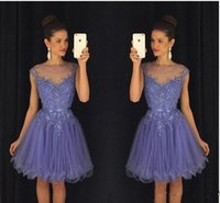Wholesale Lilac Belt - 2017 New Lavender Sheer Crew Neck Homecoming Dresses Cap Sleeves Lace Appliques Beaded Short Party Dresses with Belt Backless Mini Dresses