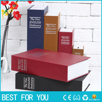 Wholesale Brown Safe - Big Size Simulation Dictionary Book Safe Cash Money Jewelry Home Secret Locker Storage Box with a key lock